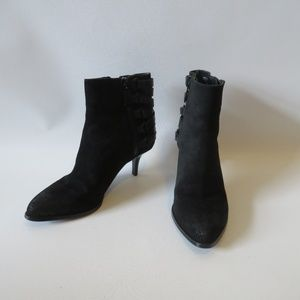LUXURY REBEL BLACK SUEDE/LEATHER ANKLE BOOTS 7